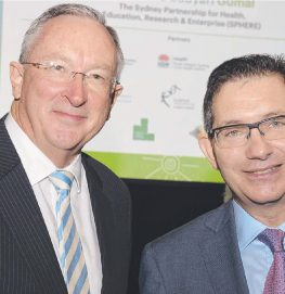NSW Health Minister Brad Hazzard and University of NSW president and vice-chancellor professor Ian Jacobs at SPHERE's launch.